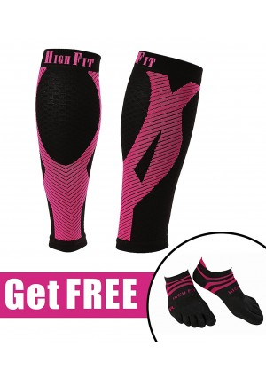 HIGH FIT Pro Calf Compression Sleeves - Enjoy Extra Support, Enhanced Performance and Faster Recovery. Offers EXTRA STRONG Compression and Support (1 Pair)