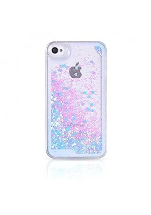 iPhone 4S Case,iPhone 4S Liquid Case,Ruky Flowing Liquid Floating Fashion Bling Glitter Love Heart Case Cover for iPhone 4 4S 4G - (Blue)