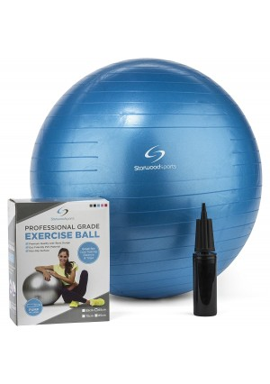 Fitness Ball – 65cm Yoga Swiss Ball with Hand Pump – Gym Quality Exercise Ball for Women and Men