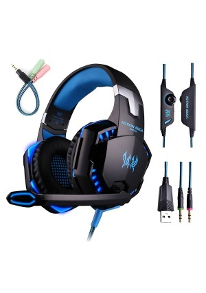 Gaming Headset with Mic for PC,PS4,Xbox One,Over-ear Headphones with Volume Control LED Light Cool Style Stereo,Noise Reduction for Laptops,Smartphone,Computer (Black and Blue)