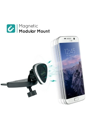 GekoGrip Magnetic Phone Car Mount - Strong Magnet Holds All iPhone and Android Smartphones and Mini Tablets | Drive Smart and Avoid Tickets for a Safe Experience | Universal Cradle-less CD Slot Holder