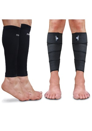 Calf Sleeve Package (Pack of 4) - Calf Compression Sleeve (1 Pair) And Calf Wraps (1 Pair) - Calf Guard For Men And Women - True Leg Graduated Compression Support Socks For Shin Splint And Pain Relief