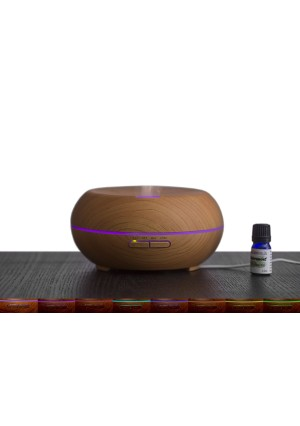 Diffuser For Essential Oils – Aromatherapy Oil (Peppermint) Included – Aroma, Ultrasonic Air, and Nebulizing Diffusers For Women, Men, and Children – LED Changing Light and Auto Shut Off (Light Wood Grain)