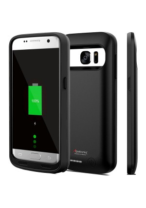 Galaxy S7 Battery Case, Alpatronix BX420 4500mAh Slim External Protective Rechargeable Portable Charging Case Charger Cover for Samsung Galaxy S7 Juice Bank Power Pack [Android 7 Nougat] - Black