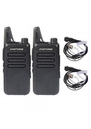 Zastone X6 Walkie Talkie 3W 16-Channel UHF Two-Way Radio with Earpiece 2 Pack