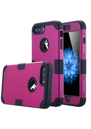 iPhone 7 Plus Case, LONTECT Hybrid Heavy Duty Shockproof Full-Body Protective Case with Dual Layer [Hard PC+ Soft Silicone] Impact Protection for Apple iPhone 7 Plus - Purple/Black