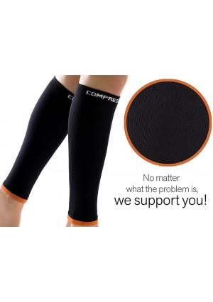 Shin Guard Sleeve, Premium Sports Calf Compression Guard For Men and Women's Leg Faster Recovery And Boost Circulation, Training and Travel - 1 Pair