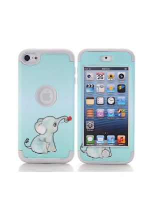 iPod Touch 6th Generation Case, SinYong [Shock Absorption] Drop Protection Hybrid 3 in 1 Armor Defender Protective case Cover for iPod touch 5/ iPod touch 6 (Elephant+Grey)