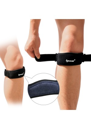 Ipow 2 Pack Knee Pain Relief and Patella Stabilizer Knee Strap Brace Support for Hiking, Soccer, Basketball, Running, Jumpers Knee, Tennis, Tendonitis, Volleyball and Squats, Black