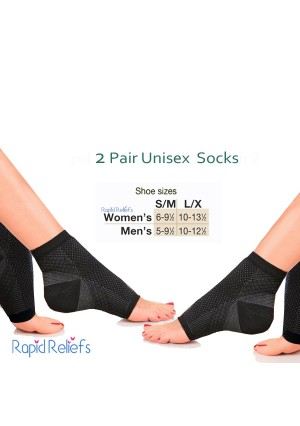 2 pairs Plantar Fasciitis Socks, Compression Sock Sleeve with Arch and Ankle and Heel Support, Increases Circulation, Eases Swelling and Relieves Pain for Men and Woman