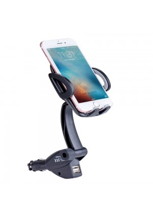 Car Mount Phone Holder Car Charger Holder Cradle with Dual USB 3.1 Cigarette Lighter Car Charger for iPhone 7 7Plus 6S 6 Samsung S8 S8 Plus S7 S6edge MP5 GPS