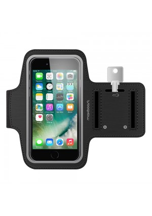 Maxboost Armband [Original+] For Large Phone, iPhone X, iPhone 8 Plus, iPhone 7/6/6S PLUS, Galaxy s8 Plus, LG G6,Note 5 (fits Otterbox Defender Lifeproof case) Exercise Running Pouch Key Holder -Black