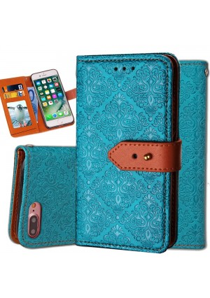 iphone 6S Wallet Case,Auker Flip Folio Vintage Leather Book Style Stand Case Full Body Protection Retro Purse Cover with Card HoldersandHidden Cash Pocket for Women/Men for iphone 6/6s 4.7 Inch (Blue)