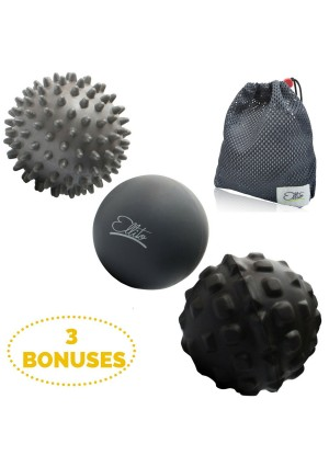 Therapeutic Massage Ball Set: Eliminate Pain! Rubber, Spikes and Foam Roller Massager Balls. Myofascial Release, Trigger Point and Plantar Fasciitis Therapy. Releases Muscle Aches: Thigh, Back, Knee, etc