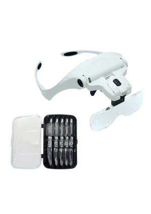 WElinks Head Wearing Magnifying Glass Lens Jewelry Loupe Eyeglass Mount Bracket/Headband Magnifier with 2 LED Lights,5 Portable Replaceable and Interchangeable Lenses: 1.0X, 1.5X, 2.0X, 2.5X, 3.5X