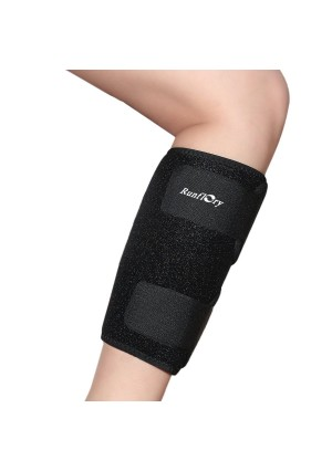 Runflory Calf Shin Support Brace, Adjustable Calf Brace Compression Leg Sleeve Wrap Band for Running, Sports - Great Shin Support Improves Blood Circulation and Reduces Leg Swelling Injury - Black