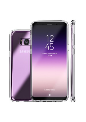 Galaxy S8 Case, Clear Slim Hybrid Armor Perfect Fit Hard Anti Scratch Excellent Grip Flexible Tpu Non Slip Non Bulky 360 Full Body Shockproof Protective Cover for Samsung Galaxy S8 - Crystal