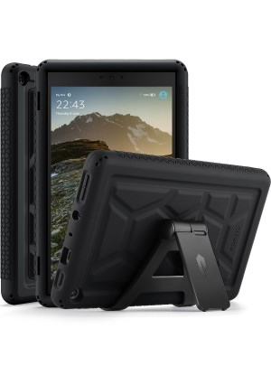 Poetic TurtleSkin All-New Amazon Fire HD 8 2017 Rugged Case with Free Stand Heavy Duty Silicone and Sound-Amplification feature Cover for Amazon Fire HD 8 2017 (7th Generation,2017 Release) Black
