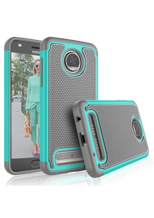 Moto Z2 Play Case, Motorola Z2 Play Droid Cover For Girls, Tekcoo [Tmajor] Shock Absorbing [Turquoise] Rubber Silicone and Plastic Scratch Resistant Bumper Grip Rugged Hard Cases For Moto Z Play 2017