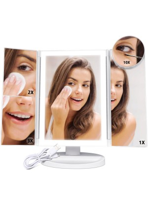 Lighted Vanity Mirror, F-color Trifold High Brightness Dimmable Light Bars LED Makeup Mirror with Touch Screen and 2x/3x/10x Magnifications Clear Vanity Mirror 180 Degree Rotation Cosmetic Mirror