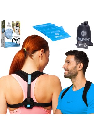 Comfortable Posture Corrector for Women and Men + Resistance Band – Adjustable Clavicle Brace for Upper Back Pain Support and Hunchback Correction by Fitophoria.