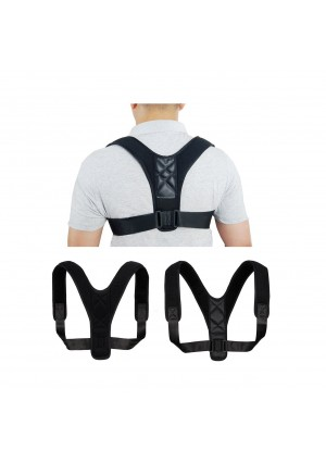 "Posture Corrector Support Brace for Women and Men by TALLPLUS, Figure 8 Shaped Designed for Your Upper Back, Helps to Improve Posture, Prevent Slouching(28""  - 43"" , Black)"