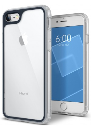 Caseology [Coastline Series] Case for iPhone 8 / iPhone 7 - Transparent Clear Slim Design Protective Scratch Resistant Color Contrast Frosted Frame Cover - (Deep Blue)