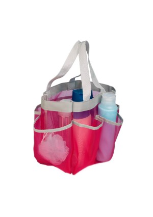 Honey Can Do 6 Pocket Shower Tote Pink And Gray