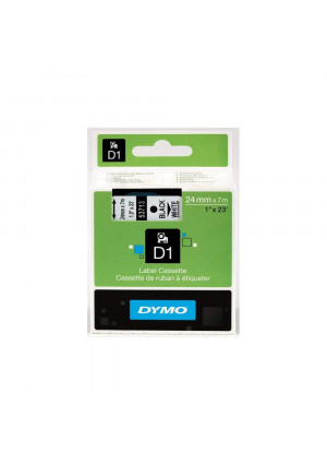 DYMO Authentic Standard D1 53713 Labeling Tape (Black Print on White Tape, 1'' W x 23' L, 1 Cartridge)