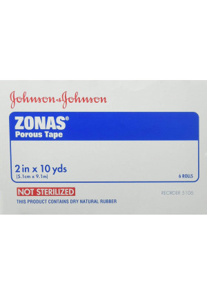 Johnson and Johnson First-Aid Zonas Porous Tape - 2 Inches X 10 Yards Per Tape - 6 Rolls of Tape