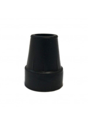 """Harvy 1"""" Heavy Duty Black Rubber Replacement Cane Tip. (2 Pack)"""