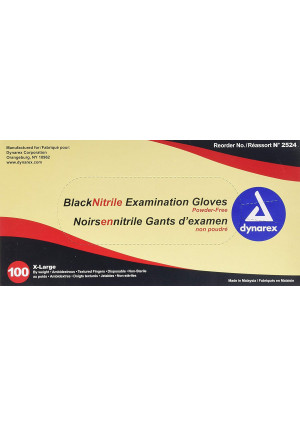 Dynarex Nitrile Exam Gloves, Black, X-Large, 100 Count