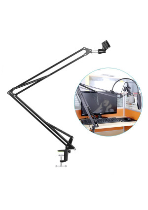 "Neewer NB-39 Adjustable 43.3""/110cm Studio Recording Microphone Suspension Boom Scissor Arm Stand with Microphone Clip and Table Mounting Clamp"