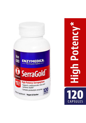 Enzymedica - SerraGold, Enzyme Support for a Healthy Inflammatory Response, Cardiovascular and Immune Health, 120 Capsules (FFP)