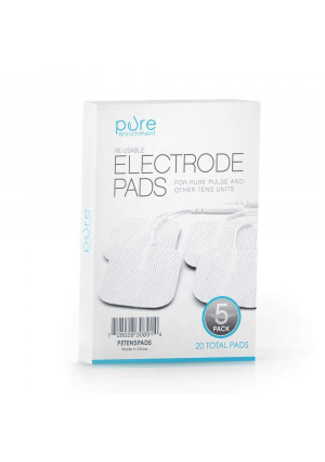 PurePulse TENS Electronic Pulse Massager Pads  Premium, Self-Adhesive Replacement Electrode Pads Compatible with PurePulse and Most Other TENS Units (Total of 20 Pads)