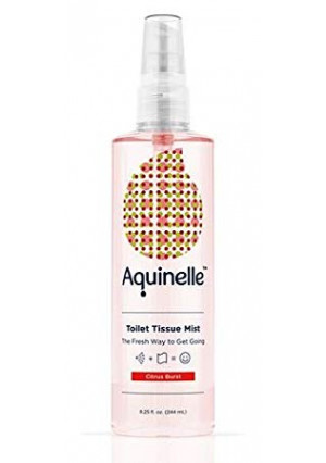 Aquinelle Toilet Tissue Mist, Eco-Friendly and Non-Clogging Alternative to Flushable Wipes Simply Spray On Any Folded Toilet Paper (8.25 oz Citrus Burst)