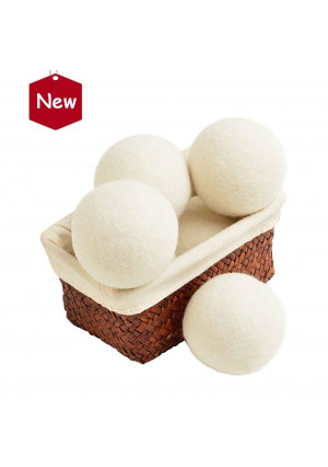 Wool Dryer Balls, Natural Organic Laundry Fabric Softener Save Drying Time Reduce Wrinkle,Reusable Hypoallergenic Baby Safe and Unscented,Better Alternative to Plastic Ball Liquid Softener-6 Pack ...