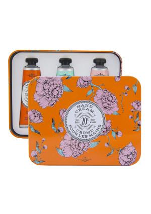 La Chatelaine 20% Shea Butter Hand Cream Tin Gift Set, Organic Argan Oil, Beauty Gift from France, Hydrating, Repairing, Nourishing Hand Lotions -Cinnamon Orange, Gardenia, Rose Acacia, 3x1 oz
