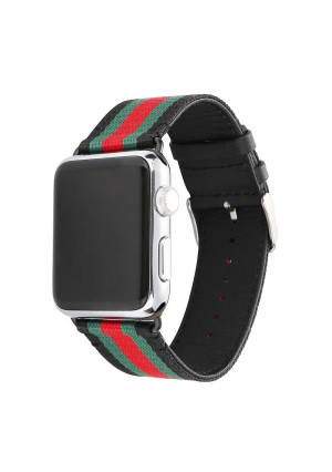 HUANLONG VE-0001 Apple Watch Band, Nylon with Genuine Leather Sport Replacement Strap Wrist Band with Metal Adapter Clasp - 42mm- Red/Green/Black