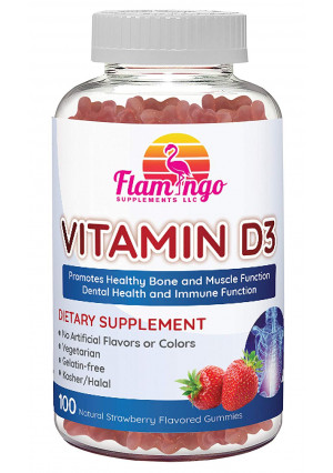Flamingo Supplements- Vitamin D3 Gummies- 800IU Serving. Kosher, Halal, GMO-Free, and Vegetarian. Vitamin D Gummies for Adults and Kids. 100 Count