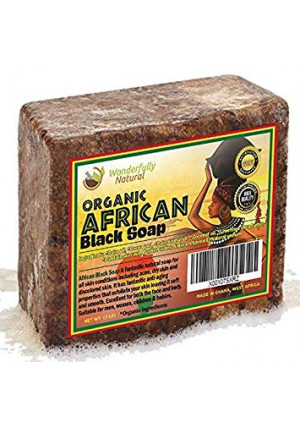 Wonderfully Natural African Black Soap   100% Organic 1lb Bar   Acne Treatment   Eczema Soap   60 day Satisfaction Guarantee