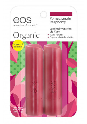 eos Organic Stick Lip Balm - Pomegranate Raspberry | Certified Organic and 100% Natural | 0.14 oz.