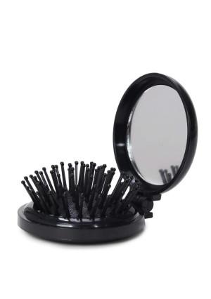 LOUISE MAELYS Folding Travel Hair Brush with Mirror Mini Pop Up Pocket Comb Gift Idea