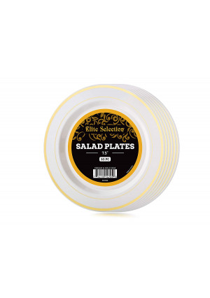 Elite Selection Pack Of 50 Salad/Dessert Disposable Party Plastic Plates Ivory Color With Gold Rim 7.5-Inch