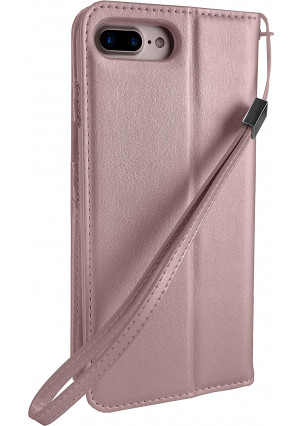 """Silk iPhone 7 Plus/8 Plus Wallet Case - FOLIO WALLET Synthetic Leather Portfolio Flip Card Cover with Kickstand - """"Keeper of the Things"""" - Rose Gold"""