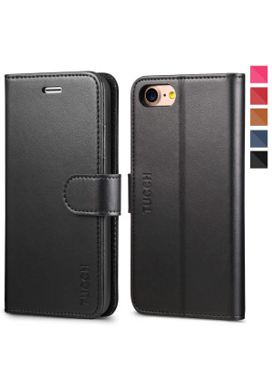 iPhone 8 Case, iPhone 7 Wallet Case, TUCCH Premium PU Leather Flip Folio Wallet Case with Card Slot, Stand Holder and Magnetic Closure [TPU Shockproof Interior Case] Compatible with iPhone 7/8, Black