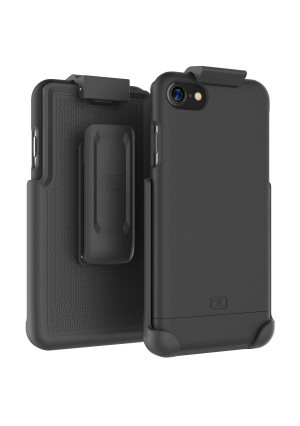 "Encased iPhone 7 Belt Case, (SlimShield Series) Protective Grip Case with Holster Clip for Apple iPhone 7 4.7"" (Smooth Black)"