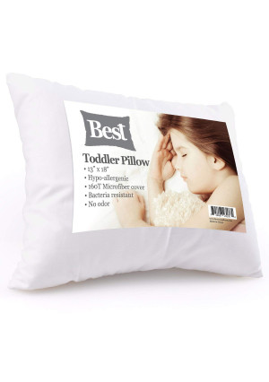 Best Toddler Pillow (INCREDIBY SOFT - 100% HYPOALLERGENIC) No Pillowcase Needed! Allergy Free - White Microfiber Finish 13x18 - Provides Great Back and Neck Support for Any Toddler, Kid, or Child