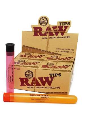 20 Boxes of Raw PRE-ROLLED tips (420 Total PRE-ROLLED Tips) + 1 Regular and 1 Extra Large Rolling Paper Depot Doob Tube