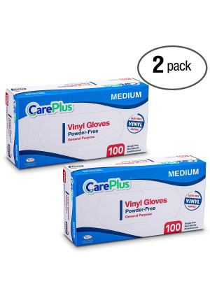 Care Plus Disposable Vinyl Gloves, Powder Free, Clear, Latex Free, Allergy Free, Medium, 100 Gloves In A Box Pack of 2